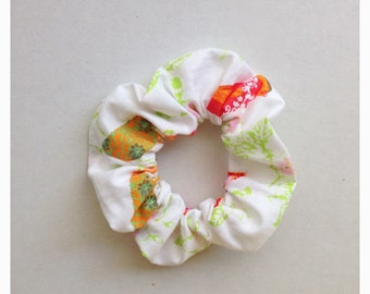 Fabric Hair Scrunchies with birds and flower pattern -  Light Weight Fabric Hair Elastic - 1 pc
