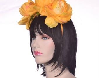 Flower Headband Golden Yellow Peonies Style Dia de la Muerte Day of the Dead Headband Catrina