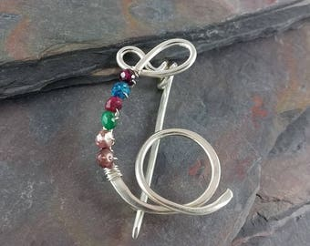 Sterling Silver Initial Pin, Personalized Pin, Lapel Pin, Initial Brooch, with or without Birthstones