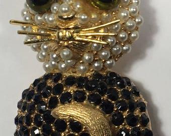 Vintage Hollycraft Cat Brooch Faux Pearls Black Rhinestones Gold Tone