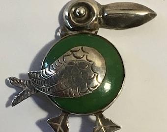 Vintage Silver Green Toucan Pelican Brooch Mexico