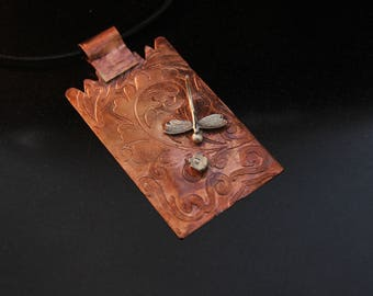 CO1027 - Copper Pendant, Fine Silver Dragonfly Flower,  Etched Pendant,  3mm Brown leather cord,  Hand-made Findings, Made-in-Montreal