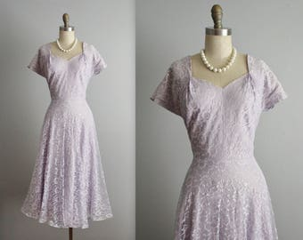50's Lace Dress // Vintage 1950's Lavender Lace Full Wedding Party Prom Dress