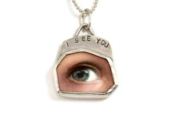 Inspirational Jewelry For Girlfriend, Unusual Jewelry For Women, Meaningful Jewelry Sterling Silver, Eye Necklace, Robin Wade Jewelry, 2517