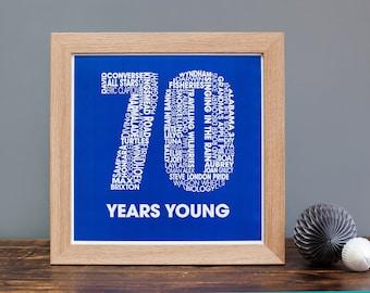 70th Birthday Print - Personalised Birthday Print - Birthday Print for Her - Birthday Print for Him