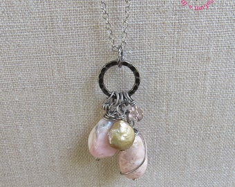 Pink Opal Cluster Pendant Necklace, Antiqued Pink Pendant Necklace, Ballet Pink Cluster Pendant Necklace, by MagpieMadnessJewelry on Etsy