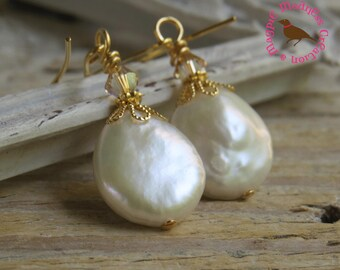 Off White Coin Pearl Earrings, Cream Coin Pearl in Gold, Cream Coin Pearl Gold Earrings, by MagpieMadness for Etsy