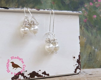 Messy Wire Wrapped White Pearl Earrings, Wire Wrap, Dangle White Pearl Earrings, Sterling Wire Wrapped, Pearls, MagpieMadness for Etsy