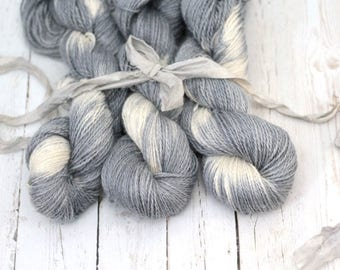 "Hand dyed Yarn Baby Alpaca, Silk, Linen ""Leiana"" DK Weight  Swoon Fibers ""Shibori Gray"""