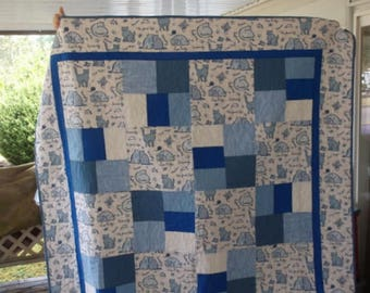 """CAT QUILT NEW Lap/Twin/Bunk/Couch Throw 64"""" x 87.5""""  shades of blue and white"""
