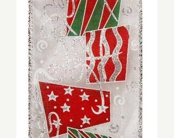SUPPLY SALE 2.5 Inch Glittered Gift Package Ribbon RZ0228, Red Green White