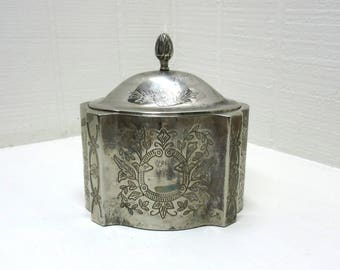 Vintage Metal Trinket Box Pineapple Knob On Lid Silver Plated Trinket Box Art Nouveau