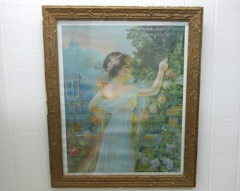 Vintage Framed Print Reproduction Grecian Lady