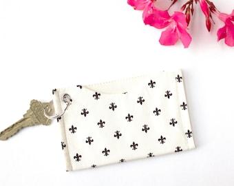 ID Holder Keychain Wallet, Fleur de LIs Card Sleeve Wallet, Metro Card Holder, Minimalist Credit Card Holder, Slim Wallet, Card Case Wallet