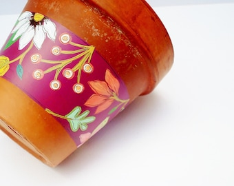 """Hand Painted Flower Pot """"Bloomed Collection"""" Vintage Terracotta 5.5 Inch Planter- Ready to Ship"""