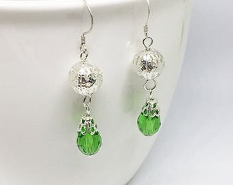 Green Filigree Dangle Earrings