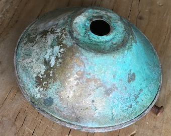 Homemade Verdigris on Vintage Industrial Lamp Base - Fresh Los Angeles Salvage Altered - Upcycled Finding - Old Bobeche