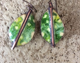 Fold Formed/Enamel Copper Earrings/WIth Sgrafitto Design/Organic/Nature Art/Costa Rica Inspiration/Croton Leaves
