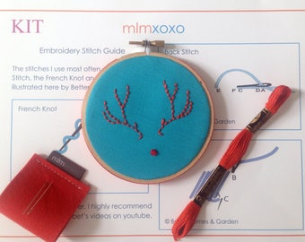 "Embroidery KIT by mlmxoxo.  beginner kit. Rudolph the red-nosed reindeer.  winter holiday home decor. modern embroidery starter kit. 4"" hoop"
