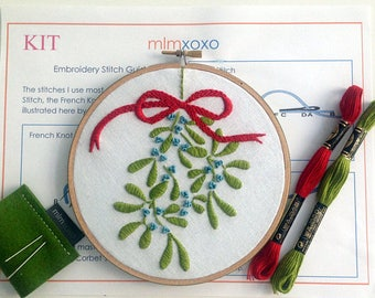 Mistletoe Embroidery Kit by mlmxoxo. modern embroidery kit. Christmas holiday decoration.  red.  green.  aqua.  diy embroidery kit.  no hoop