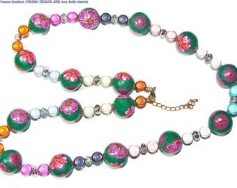 Fancy necklace, thousand colors, fimo, pearls, unique