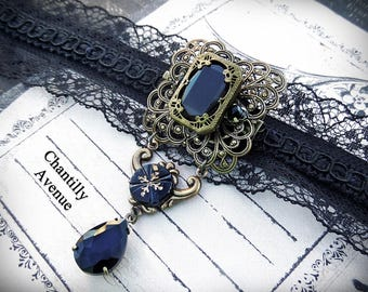 Victorian Brooch Pin, Jet Mourning Jewelry Handmade Black Lace Gothic Choker, Victorian Jewelry