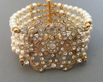 Great Gastby Bracelet Ready to Ship! Great Gift for her Art Deco Pearl Bracelet Gold Ivory Pearl with Rhinestone 5 strands Swarovski Pearls