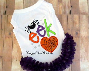 Dog T Shirt, Dog Top, Dog Tee, Dog Halloween Costume, XS, Small, Medium - with or without ruffles and bows