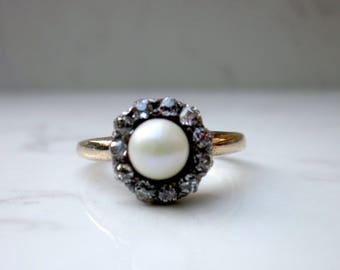 Antique Old European Cut Diamond and Pearl Halo Ring in 14k Yellow Gold, Size 7/ Pearl Halo Ring / Diamond Halo Ring/Pearl Engagement Ring /