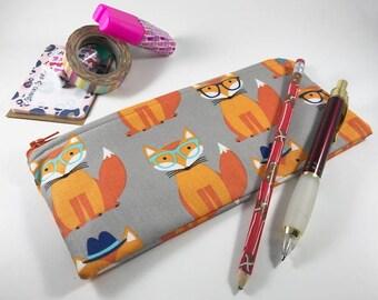 Fox Pencil Case, Pencil Pouch, Journal Accessory Bag, Kids Pencil Pouch