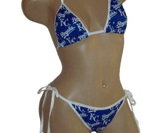 Kansas City Royals Bikini - By Sexy Crushes - C Cup Top and 'More' Scrunch Bottom - Ready to Ship