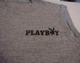 Vintage 80's PLAYBOY Men's Magazine hipster punk rock disco heather gray sleeveless T shirt Sz L