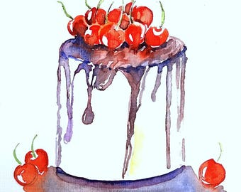 Cake with cherries. Original painted watercolor.