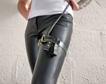 Leather Garter Belt - Black and Green - steampunk - burning man - festivals - apocalypse, Please read Description for size