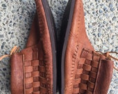Cork Moose Hide Woven Moccasins with  Vibram sole size 7