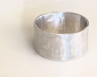 Silver Wedding Band-Sterling Silver Wedding Band- Men's Wedding band-Cigar Band
