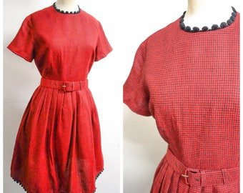 1950s Red black check pompom day dress / 50s 60s checked full skirt wool cotton dress - S