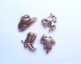Western theme silvertone metal button covers / novelty metal cowboy hat Spurs boots bucking horse & saddle shirt accessories