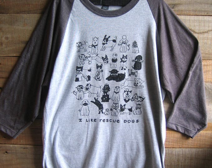 Rescue Dogs Grey or White Baseball T Shirt
