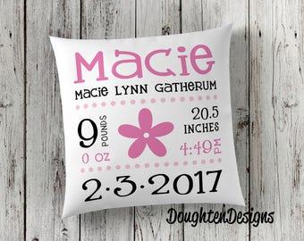 Birth stat pillow, Birth announcement pillow, personalized pillow, nursery pillow, baby shower gift, baby keepsake pillow, birth pillow