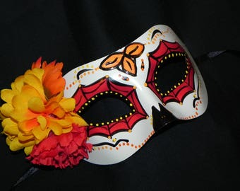 Red, Yellow and Orange Day of the Dead Mask - Halloween Mask