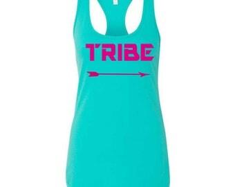 Tribe Arrow Tank  ,  Bachelorette party Tops, Bridesmaid shirts ,  ALL SIZES - Aqua Blue , Hot Pink , Orange, Royal Blue- Bright Colors