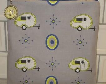 "Camping Zipper Tote, Purse, Bag 8"" X 8"" Yellow TAB Teardrop Camping Trailers on Grey"