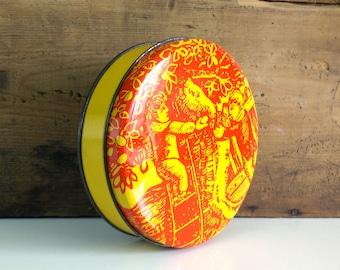 Vintage Tea Tin / Trinket Box / Biscuit Tin / Colorful graphic