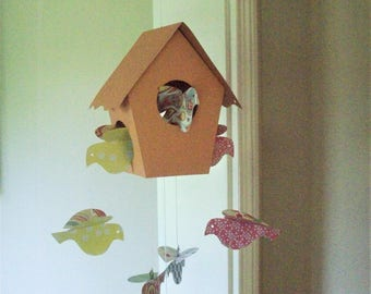 Mobiles--Tangerine Bird House Mobile