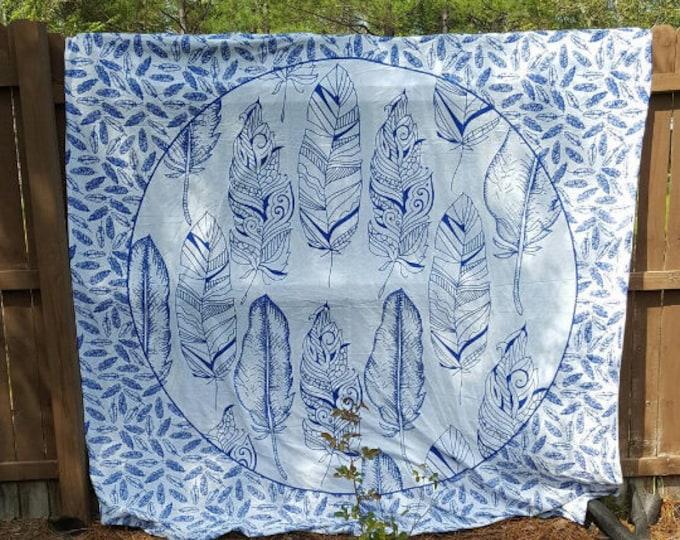 Blue and White Feather Mandala Tapestry Boho Hippie Tapestry Wall Hanging Beach Blanket Yoga Meditation Mat Dorm Decor Music Festival
