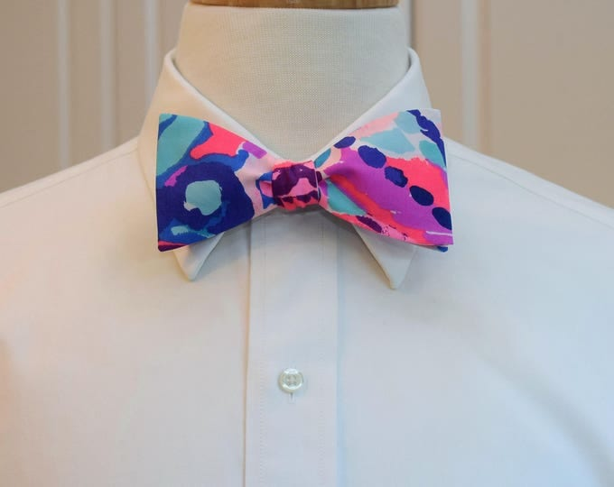 Men's Bow Tie, Colony Coral Shell Out pinks/blues 2017 Lilly print, wedding bow tie, groom/groomsmen bow tie, prom bow tie, Derby bow tie