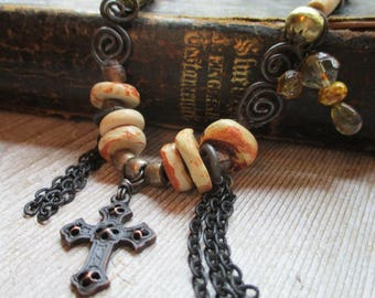 Mixed Media Necklace Handmade Cross necklace African beads Black Swirl wire