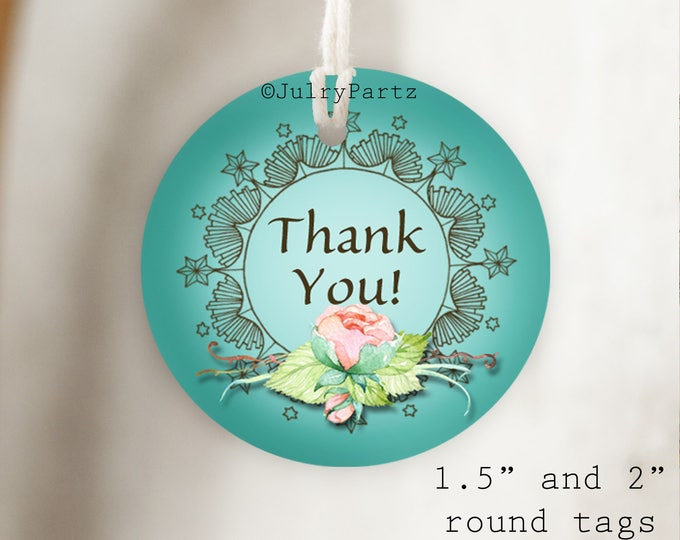DIY FLORAL #1•Thank You Tags•Printable Tags•Digital Tags•Favor Tags