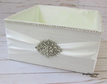 Wedding Box,  Program Box, Bubble Box, Rhinestone Wedding Basket, Bridal Ivory  - Custom Made